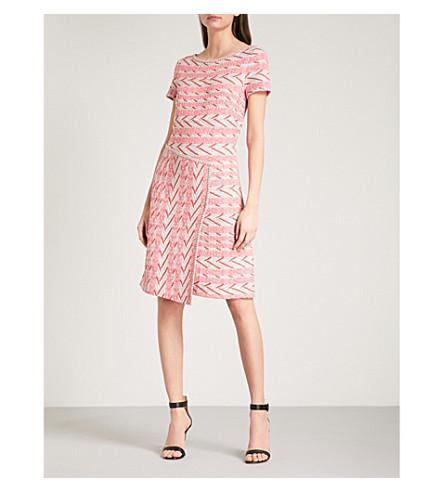 ST JOHN Geometric-pattern woven dress (Bright+coral+multi