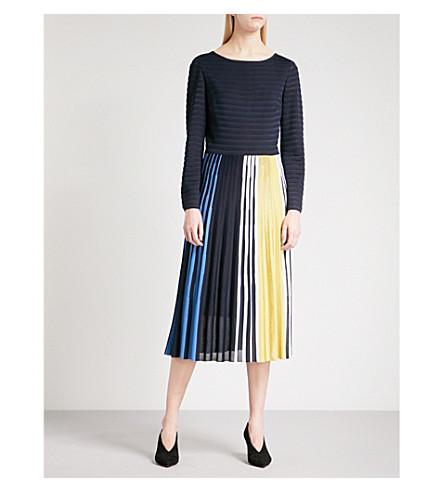 ST JOHN Ombré striped knitted dress (Navy+multi