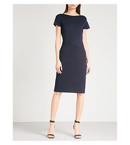 ST JOHN Milano seam-detail wool-blend dress (Navy