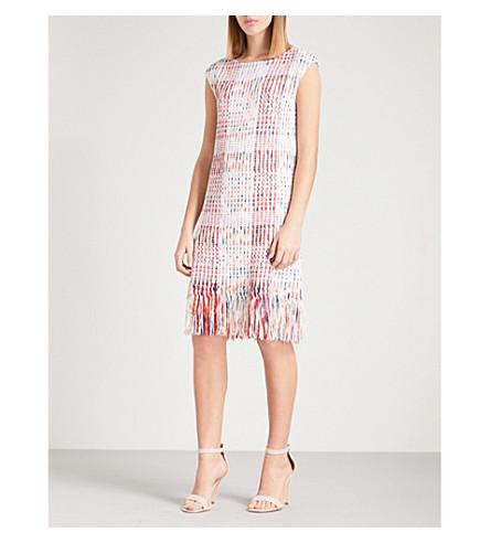 ST JOHN Fringed woven dress (Blush+multi