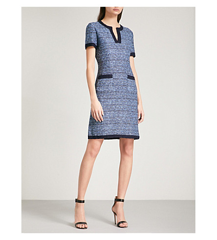 ST JOHN Flared-hem tweed mini dress (Navy+multi