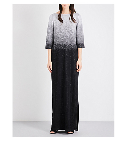 ST JOHN Ombré metallic knitted gown (Silver+black