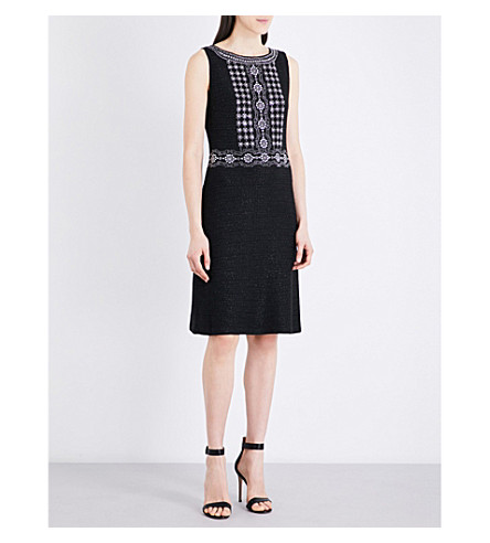ST JOHN Masika embellished metallic-knit dress (Caviar