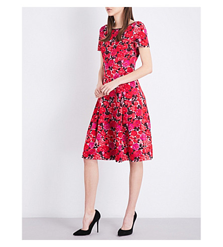 ST JOHN Indian Rose jacquard-knit dress (Red+multi