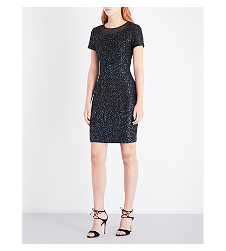 ST JOHN Pranay sequin-detail tweed dress (Caviar+multi