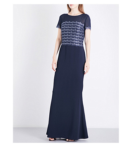 ST JOHN Metallic-lace, chiffon and stretch-silk gown (Navy+multi