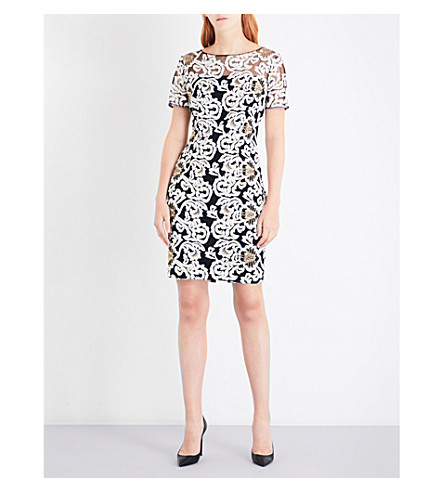 ST JOHN Floral-embroidered dress (Caviar+bianco+gold