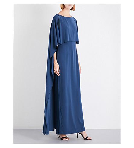 ST JOHN Embellished-trim satin-crepe gown (Dusk