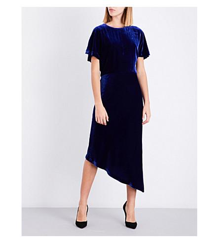 ST JOHN Asymmetric velvet dress (Lazuli