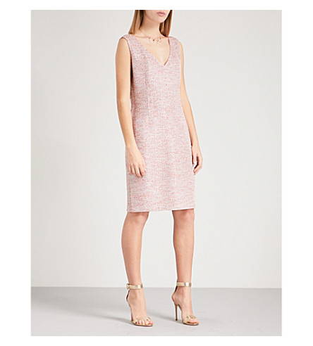 ST JOHN Metallic-weave tweed dress (Rosa+multi