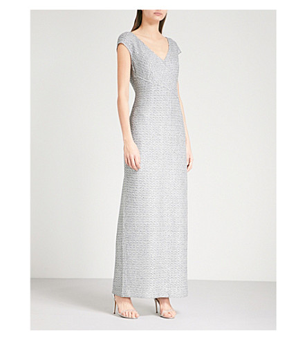 ST JOHN Metallic tweed dress (Gunmetal+multi