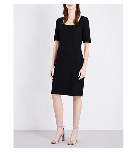 ST JOHN Fine-knit wool-blend dress (Caviar