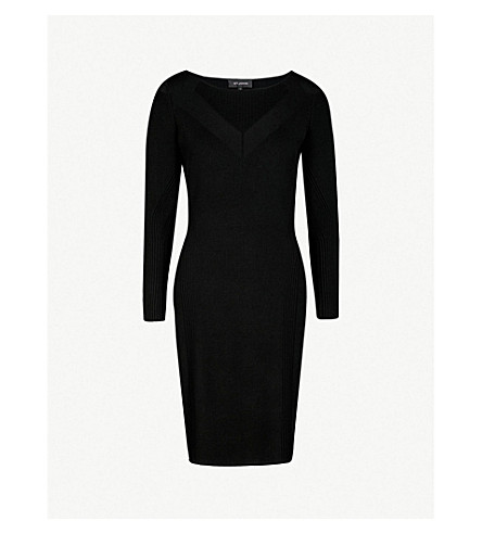 ST JOHN Ribbed knitted dress (Caviar