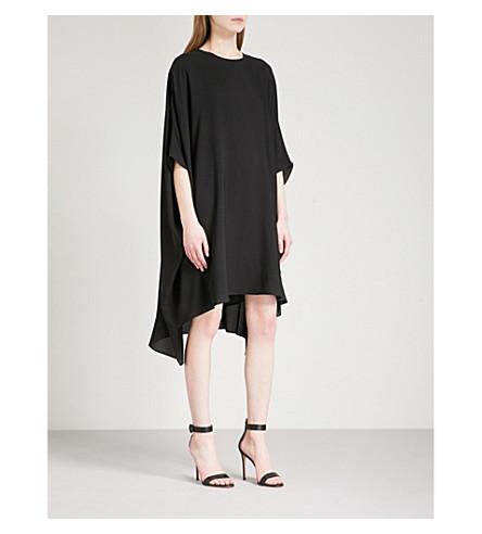 ST JOHN Asymmetric-hem silk-crepe dress (Caviar