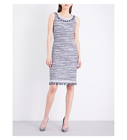 ST JOHN Tanya tweed dress (Bianco+navy
