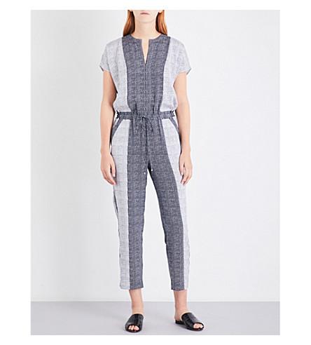 ST JOHN Geometric-print stretch-silk jumpsuit (Bianco+caviar