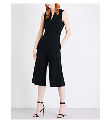 ST JOHN Wide-leg cropped cady jumpsuit (Caviar