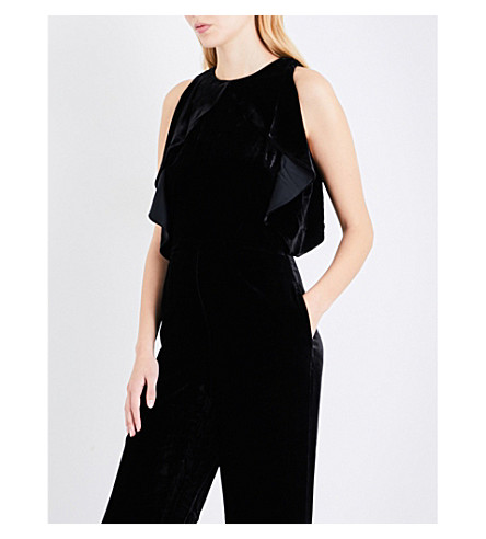 ST JOHN Waterfall-overlay velvet jumpsuit (Caviar