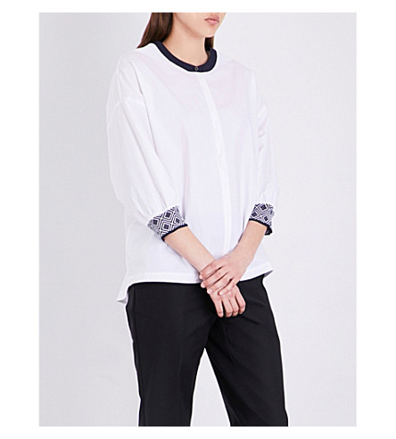 ST JOHN Contrast-trim cotton-blend top (Bianco+navy