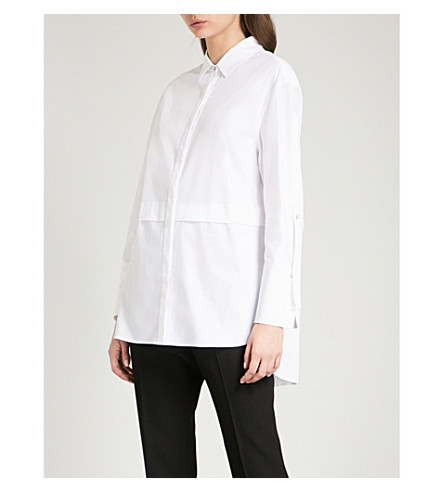 ST JOHN Dropped-hem cotton-blend shirt (Bianco