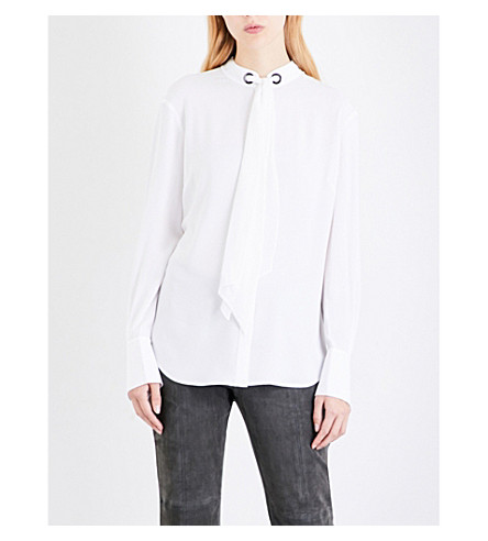 ST JOHN Tie-neck crepe shirt (Bianco