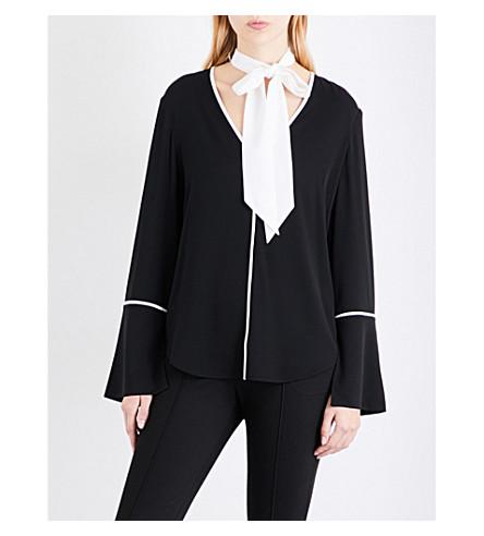 ST JOHN Tie-neck stretch-silk shirt (Caviar/bianco