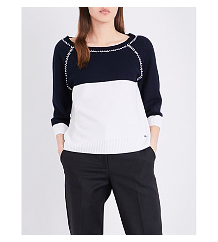 ST JOHN Honeycomb Tuck knitted top (Navy+multi