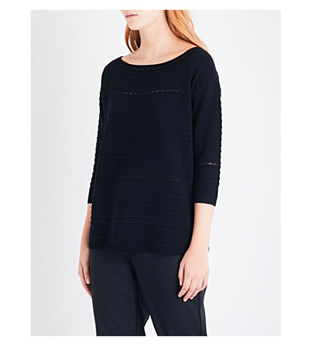 ST JOHN Boat-neck mesh-detail knitted jumper (Caviar