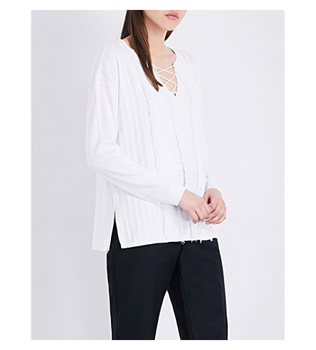 ST JOHN Lace-up knitted jumper (Bianco