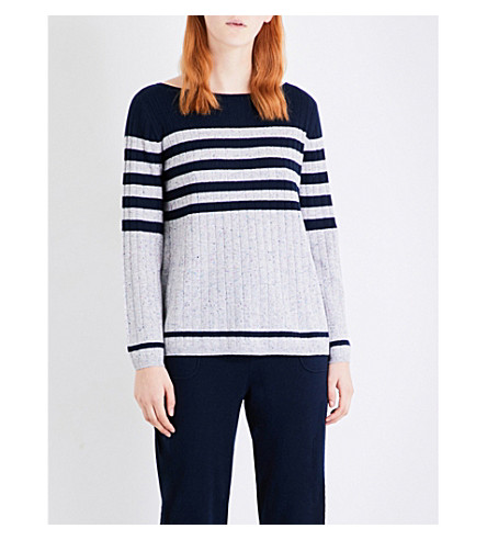 ST JOHN Striped cashmere sweater (Navy+mica