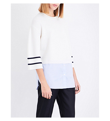 ST JOHN Layered wool and cotton top (Cream/navy