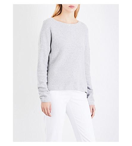 ST JOHN Sequin-embellished cashmere-blend jumper (Light+grey+melange