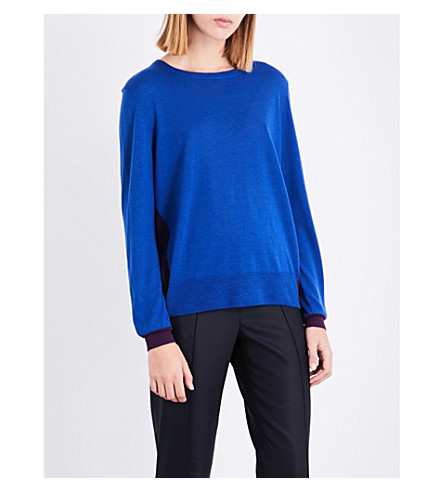 ST JOHN Contrast-back wool jumper (Lazuli/royal+amethyst