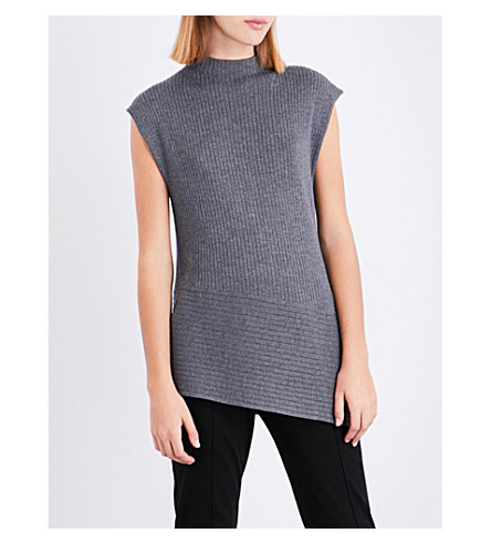 ST JOHN Asymmetric-hem wool top (Flint+melange