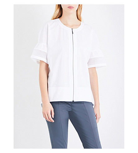 ST JOHN Zip-detail cotton-poplin top (Bianco