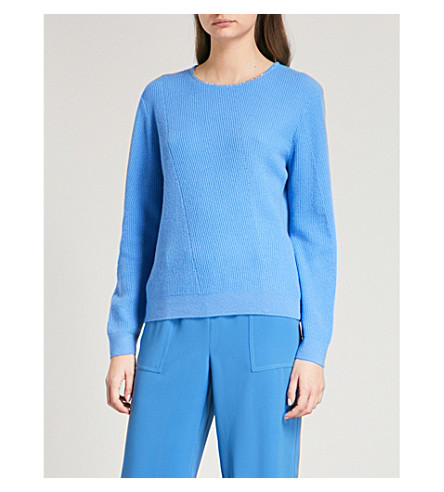 ST JOHN Jewelled cashmere jumper (Bright+niagra