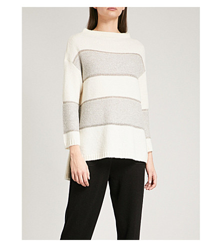 ST JOHN Striped cashmere-blend jumper (Stone/travertine