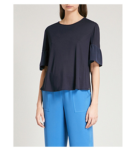 ST JOHN Contrast-sleeve jersey and silk top (Navy
