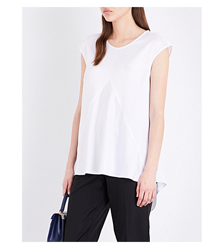 ST JOHN Dart-detail satin top (Bianco
