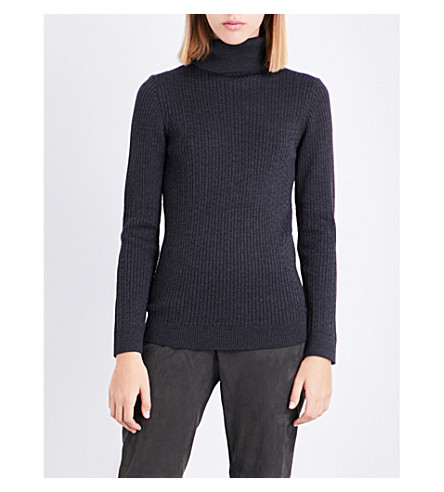 ST JOHN Turtleneck knitted wool jumper (Hematite+melange