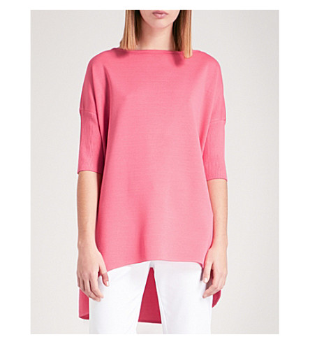 ST JOHN Boat-neck wool-blend top (Bright+coral