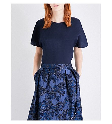 ST JOHN Crystal-embellished silk-organza top (Navy