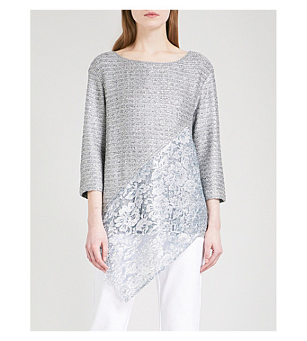 ST JOHN Asymmetric-hem tweed and lace top (Gunmetal+multi
