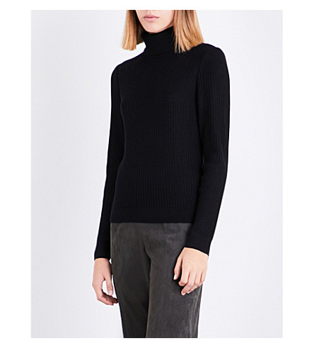 ST JOHN Turtleneck knitted jumper (Caviar