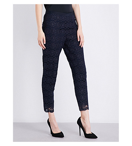 ST JOHN Cropped floral-lace trousers (Navy