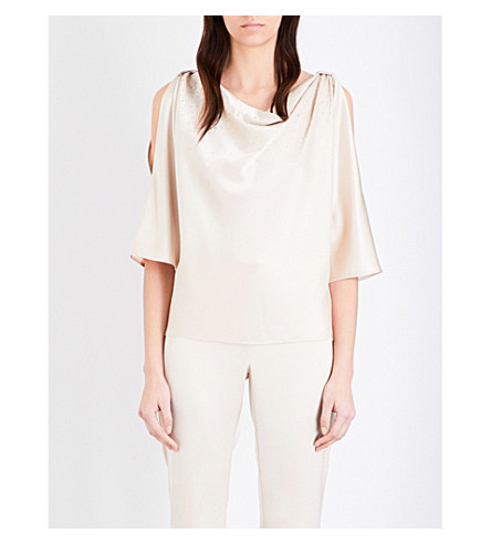 ST JOHN Cowl neck cold shoulder crepe top (Champagne