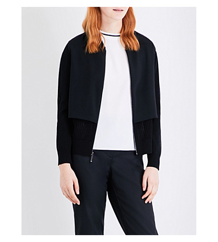ST JOHN Panelled knitted and silk bomber jacket (Caviar