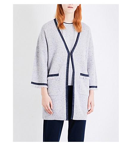 ST JOHN Frayed-trim cashmere cardigan (Mica+navy