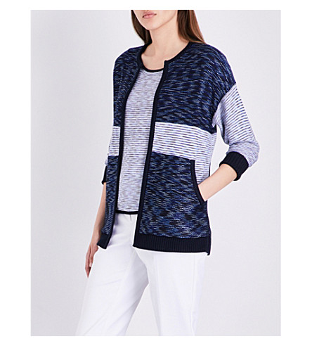 ST JOHN Chambray contrast-panel knitted cardigan (Bianco+navy+multi