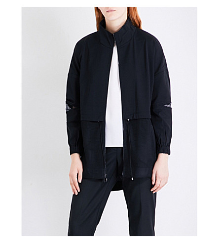ST JOHN Mesh-panel twill jacket (Caviar